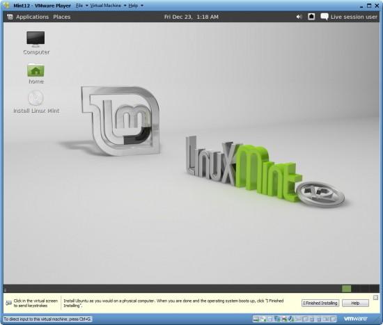 installing Linux Mint 12/13 inside a virtual machine running